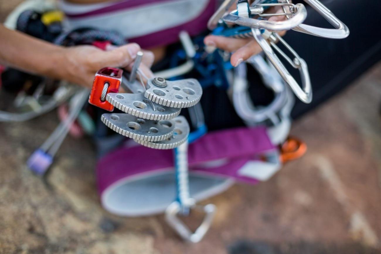 Close up shot of climbing gear