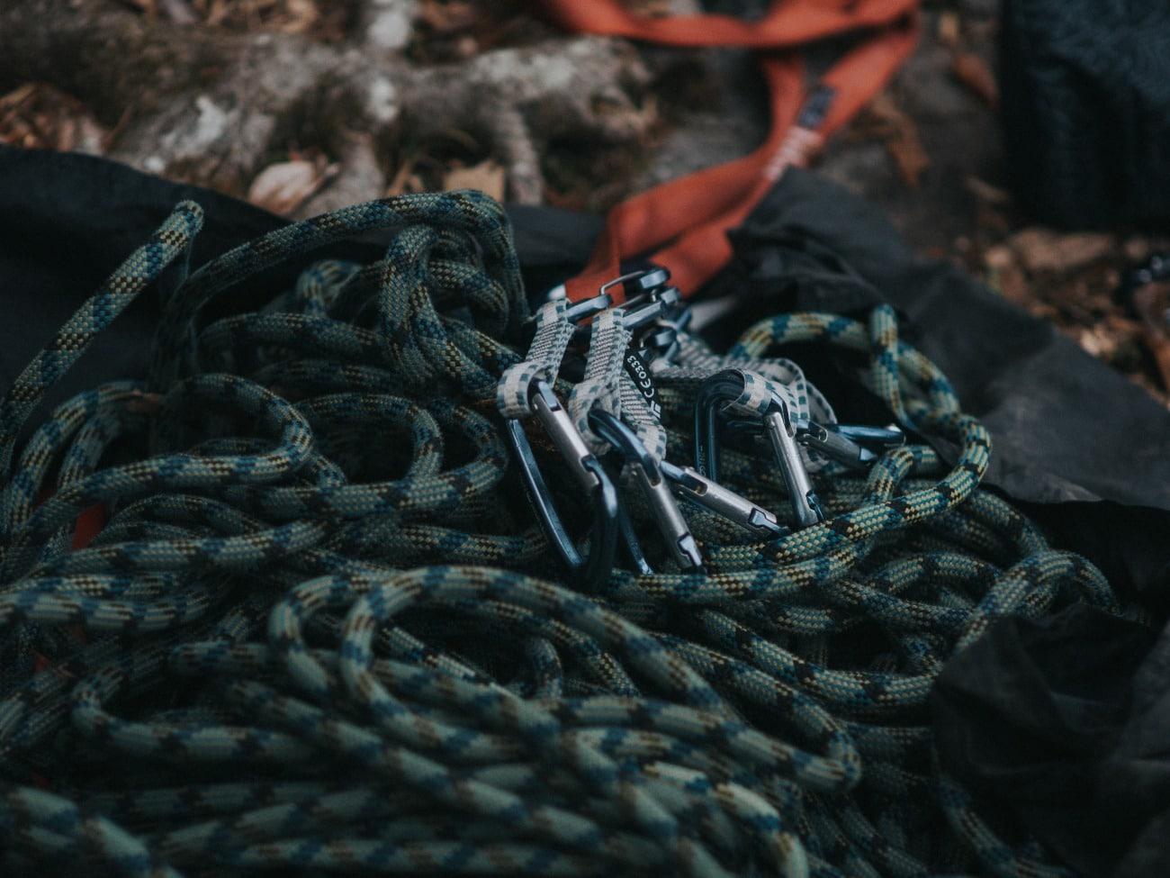 Climbing ropes close up