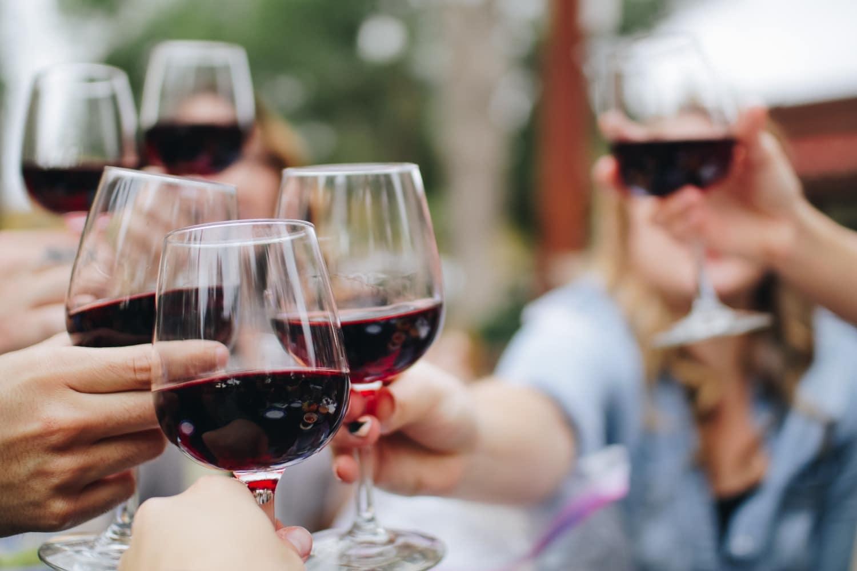 red wine outdoor cheers