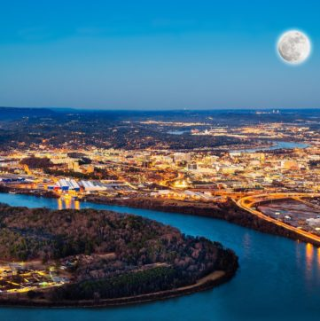 An arial of Chattanooga's downtown at dusk.